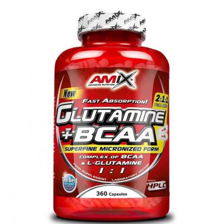 GLUTAMINA + BCAAS 360 CAPSULAS AMIX